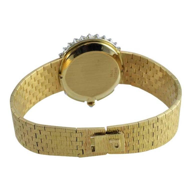 Piaget Ladies 18 Karat Yellow Gold Diamond Bracelet Watch, circa 1970s For Sale 6