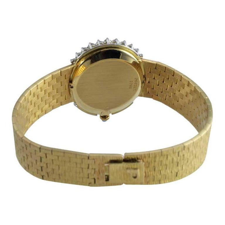 Piaget Ladies 18 Karat Yellow Gold Diamond Bracelet Watch, circa 1970s For Sale 7
