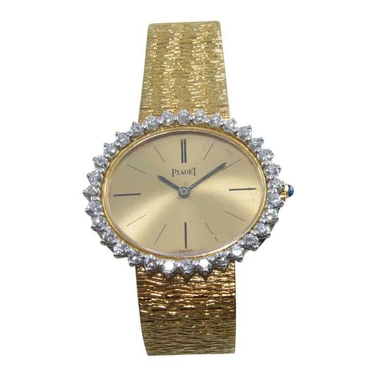 Piaget Ladies 18 Karat Yellow Gold Diamond Bracelet Watch, circa 1970s In Excellent Condition For Sale In Venice, CA