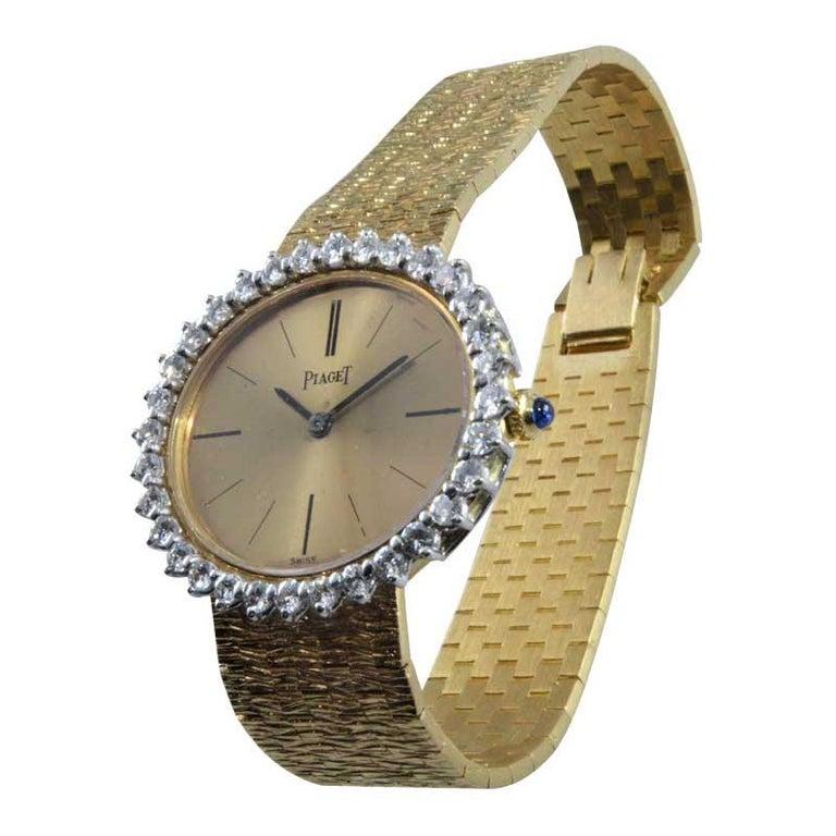 Women's Piaget Ladies 18 Karat Yellow Gold Diamond Bracelet Watch, circa 1970s For Sale