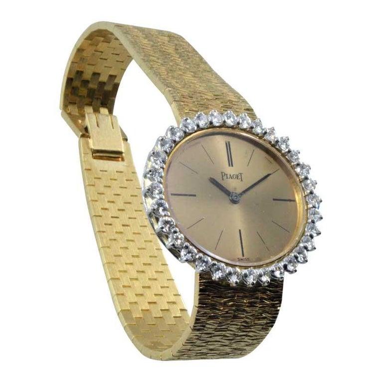 Piaget Ladies 18 Karat Yellow Gold Diamond Bracelet Watch, circa 1970s For Sale 1