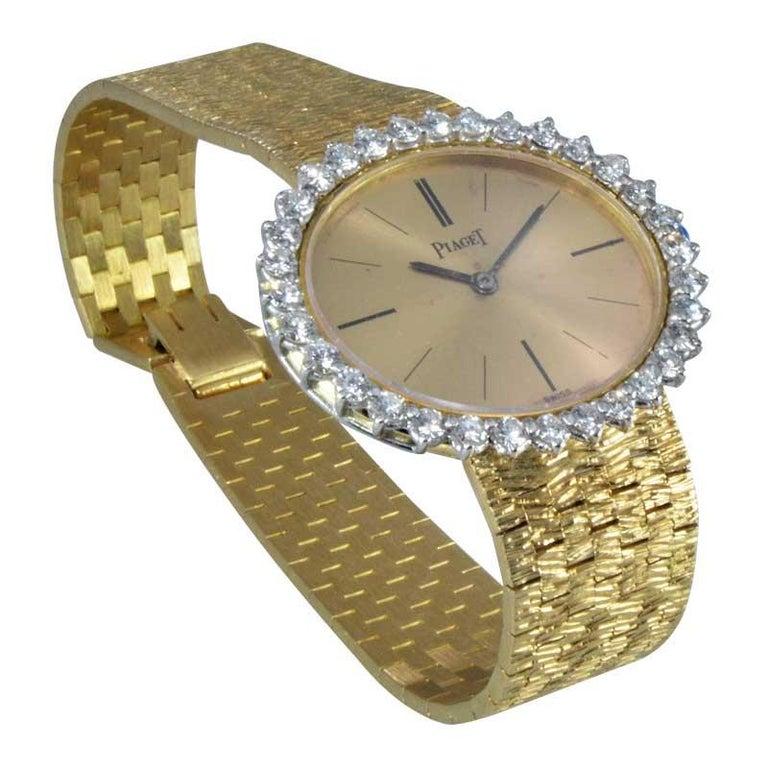 Piaget Ladies 18 Karat Yellow Gold Diamond Bracelet Watch, circa 1970s For Sale 2