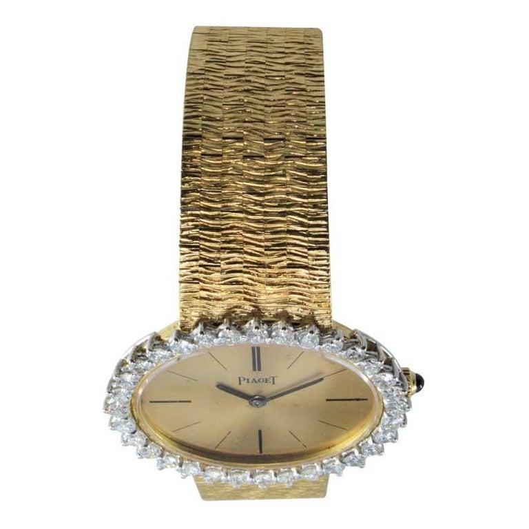 Piaget Ladies 18 Karat Yellow Gold Diamond Bracelet Watch, circa 1970s For Sale 3
