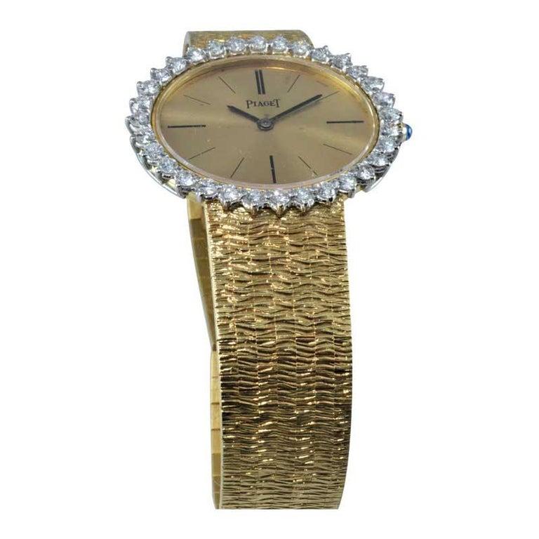 Piaget Ladies 18 Karat Yellow Gold Diamond Bracelet Watch, circa 1970s For Sale 4