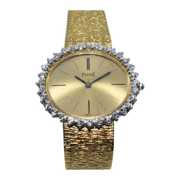 Piaget Ladies 18 Karat Yellow Gold Diamond Bracelet Watch, circa 1970s For Sale