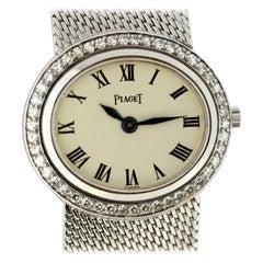 Piaget Ladies Full Solid 18 Karat White Gold Manual Winding Wristwatch, 1980s