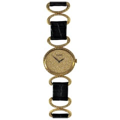 Piaget Ladies Gold Watch Pavé Dial Diamond Bezel Connectors with Alligator Strap