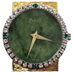 Piaget Ladies Gold Watch with Jade Dial, Diamond and Emerald Bezel