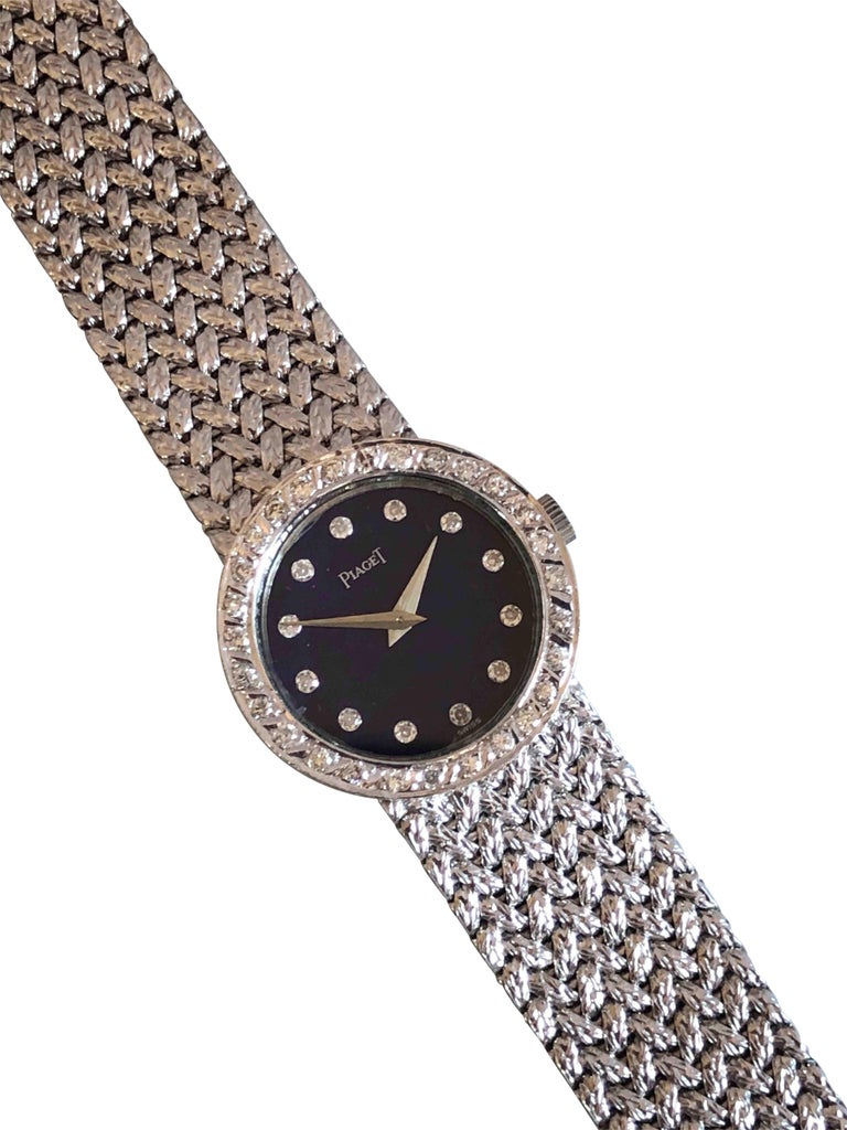 Piaget Ladies White Gold Diamond and Lapis Mechanical Wristwatch In Excellent Condition For Sale In Chicago, IL