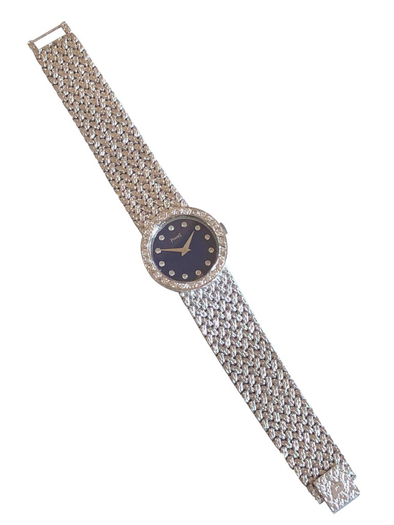 Piaget Ladies White Gold Diamond and Lapis Mechanical Wristwatch For Sale 2