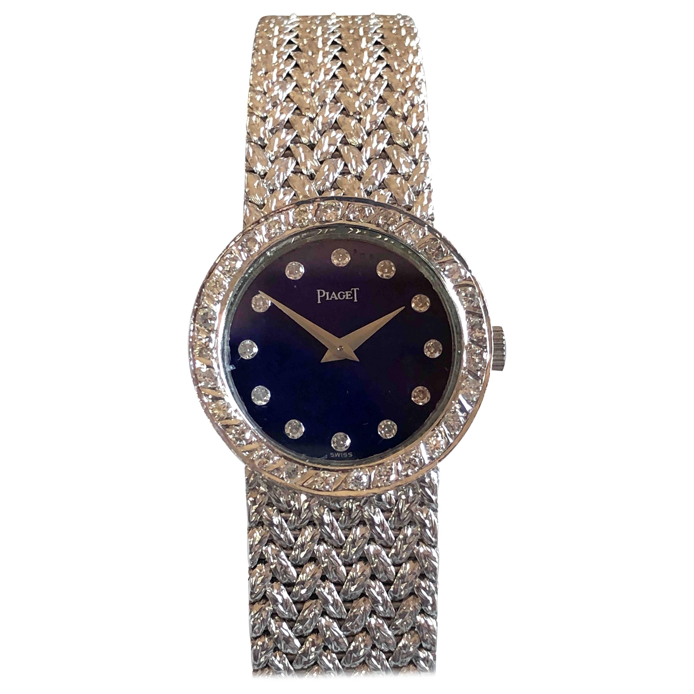 Piaget Ladies White Gold Diamond and Lapis Mechanical Wristwatch