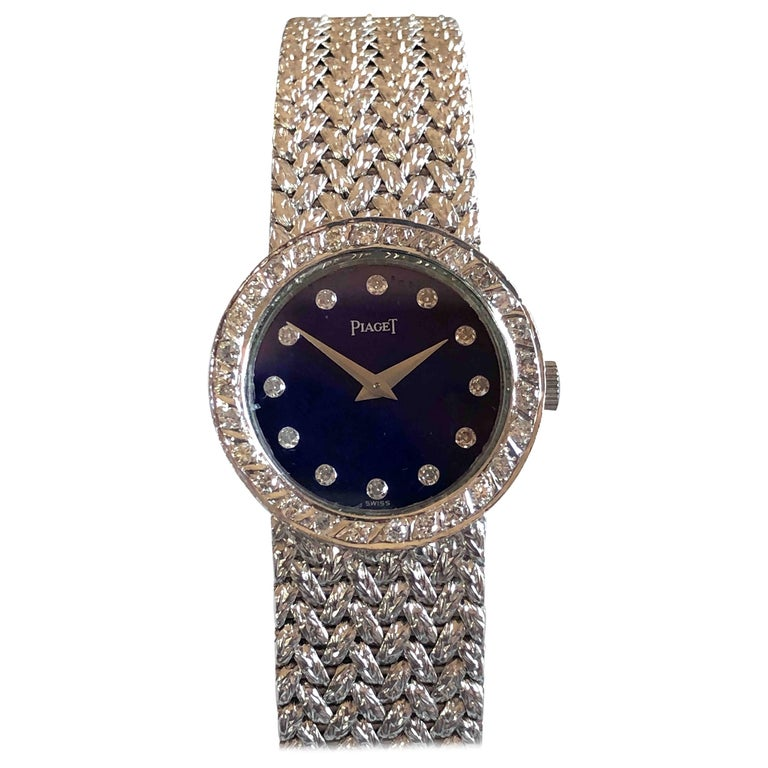 Piaget Ladies White Gold Diamond and Lapis Mechanical Wristwatch For Sale