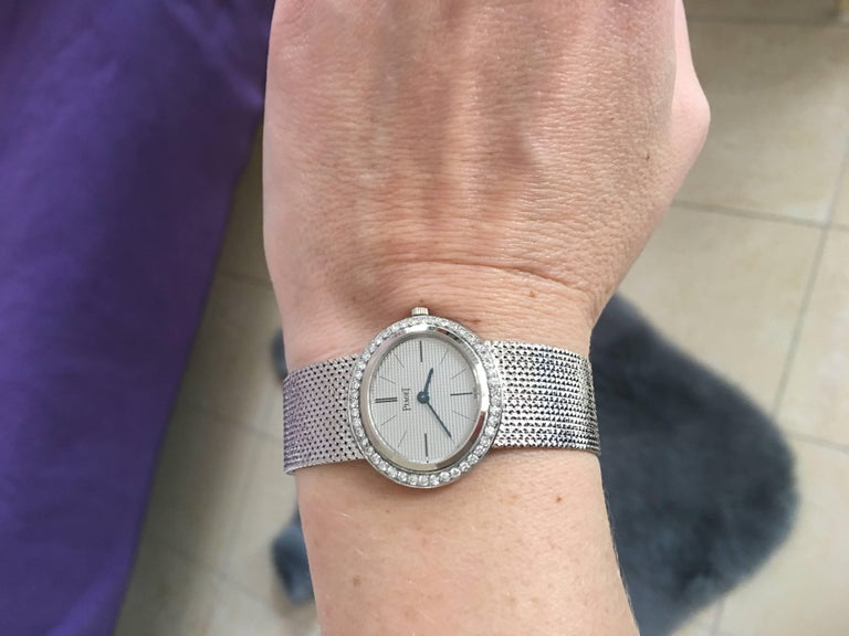 Contemporary Piaget Ladies White Gold Diamond Manual Wristwatch For Sale