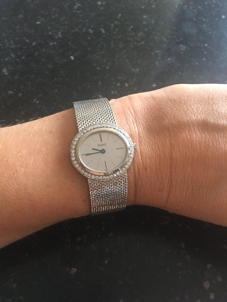 Round Cut Piaget Ladies White Gold Diamond Manual Wristwatch For Sale