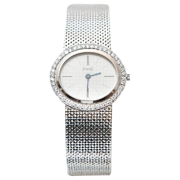 Piaget Ladies White Gold Diamond Manual Wristwatch For Sale