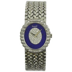 Piaget Ladies White Gold Pavé Diamond Lapis Lazuli Dial Wristwatch