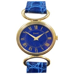 Piaget Ladies Yellow Gold and Lapis Stone Dial Mechanical Wristwatch