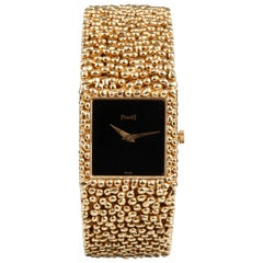 Piaget Ladies Yellow Gold Black Dial Mechanical Wristwatch