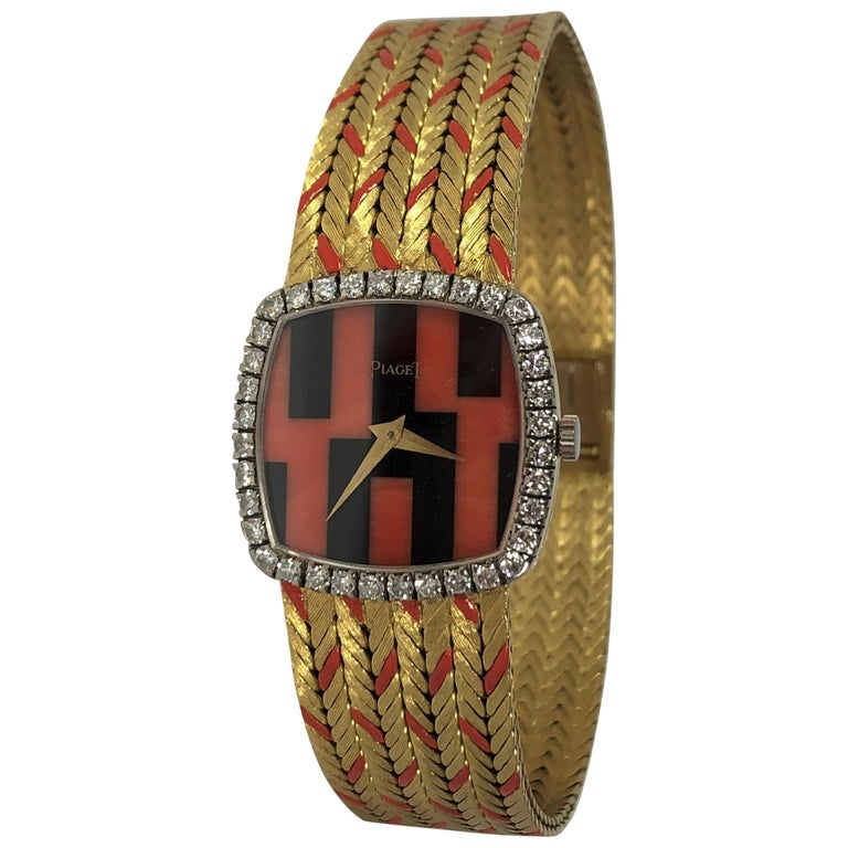 Piaget Ladies Yellow Gold Cushion Shaped Coral and Onyx Watch with Diamond Bezel For Sale