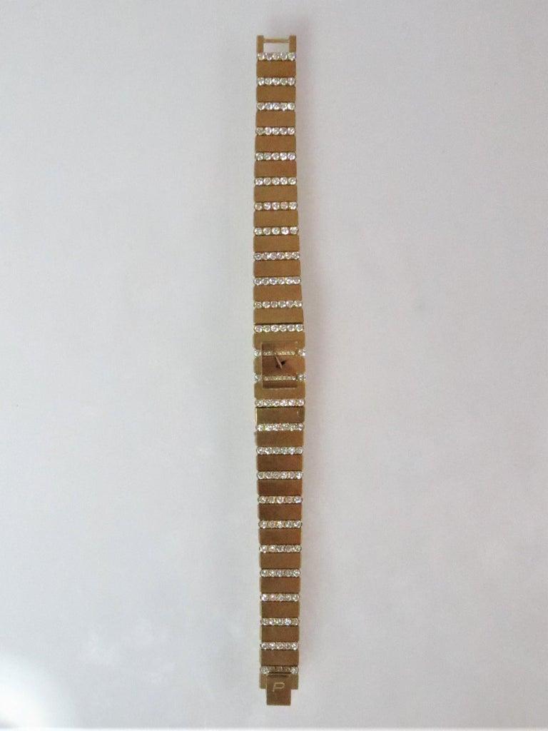 Contemporary Piaget Ladies Yellow Gold Diamond Mini Polo Bracelet quartz Wristwatch For Sale