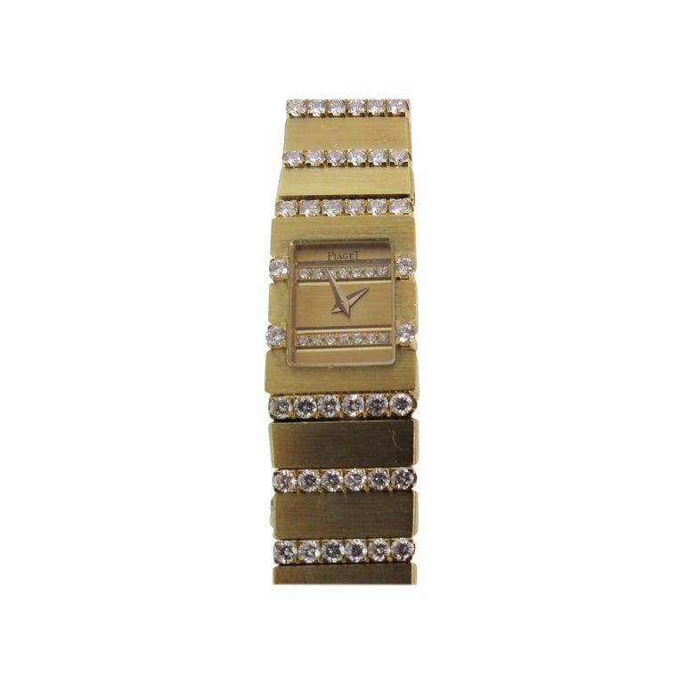 Piaget Ladies Yellow Gold Diamond Mini Polo Bracelet quartz Wristwatch For Sale