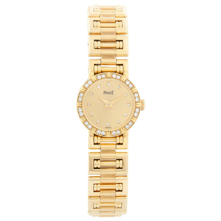 Piaget Ladies Yellow Gold Diamond Watch For Sale