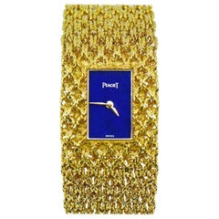 Piaget ladies Yellow Gold Lapis Dial Bracelet mechanical Wristwatch, 1970