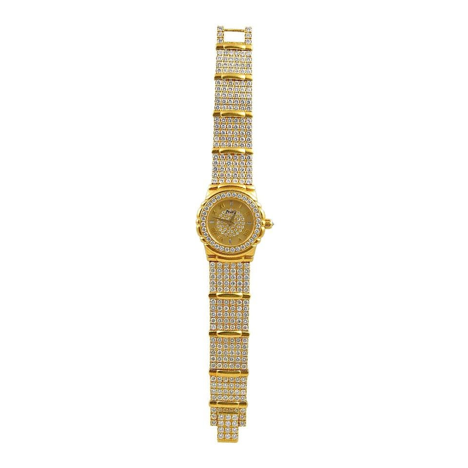 Piaget Ladies Pave Diamond Yellow Gold Quartz Wristwatch