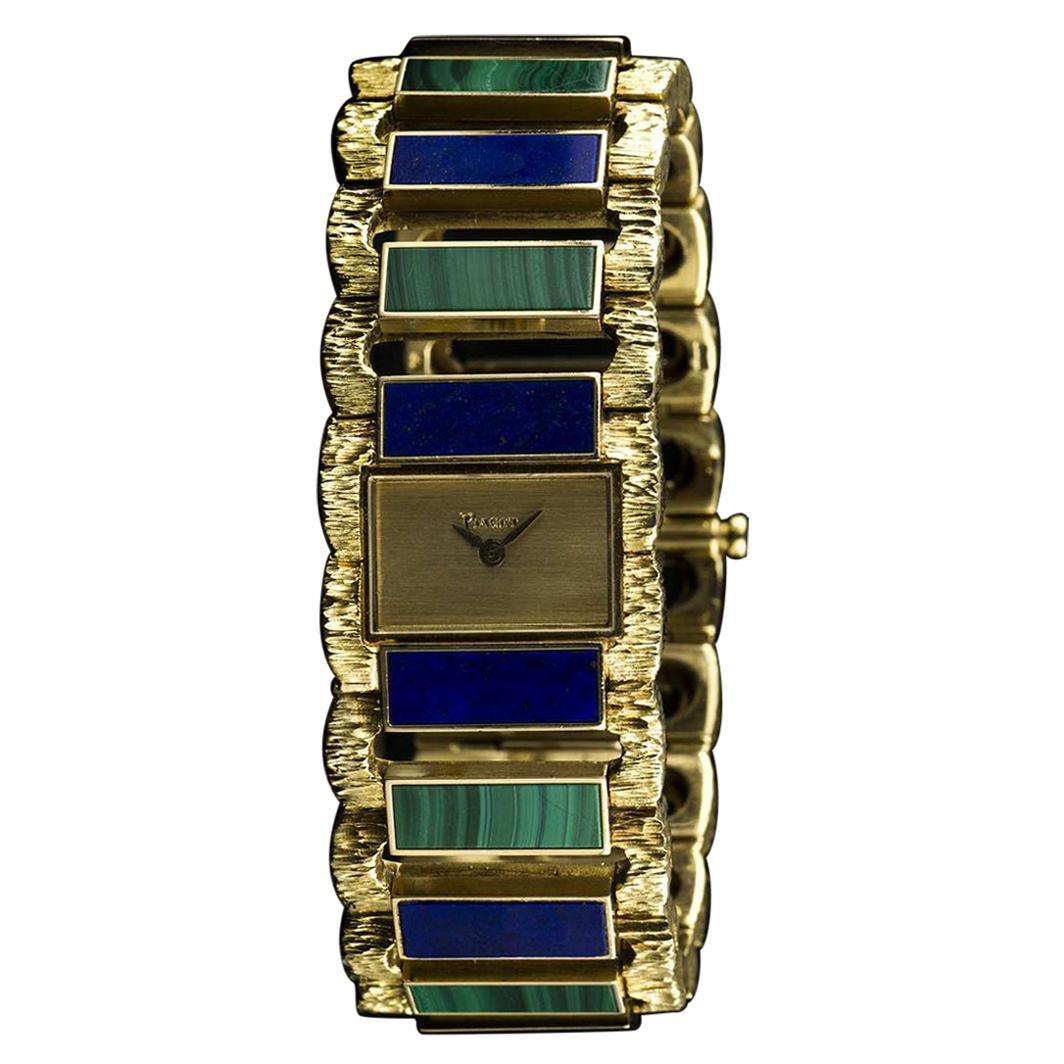 Piaget Lapis Lazuli Malachite Set Manual Wind Wristwatch, 1970s