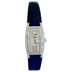 Piaget Limelight Tonneau 18 Karat Gold Paved Diamond Dial Ladies Wristwatch