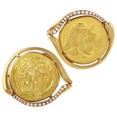 Piaget Men's 18 Karat and 22 Karat Yellow Gold Diamond Coin Cufflinks