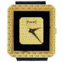 Piaget Onyx & 18K Yellow Rectangular Watch on Black Alligator Strap Ref. 91543