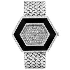 Piaget Onyx Diamond Dial White Gold Vintage Cocktail Ladies Watch 9523