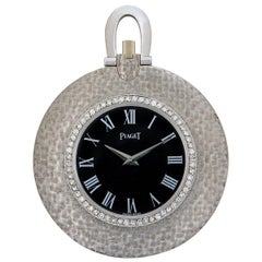 Piaget Open Face Dress Pocket Watch Textured 18 Karat White Gold Black Dial