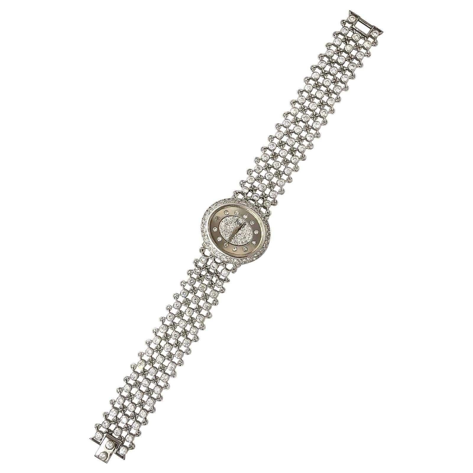 Piaget 1960s Diamond Set 18 Karat White Gold Bracelet Wristwatch