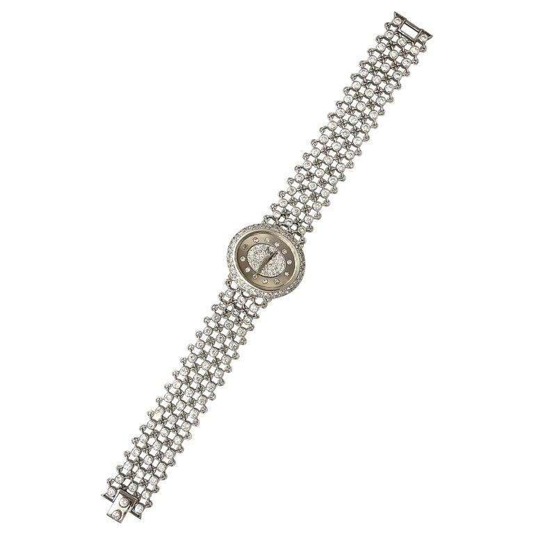 Piaget Piece Unique 1960s Diamond Set 18 Karat White Gold Bracelet Wristwatch For Sale