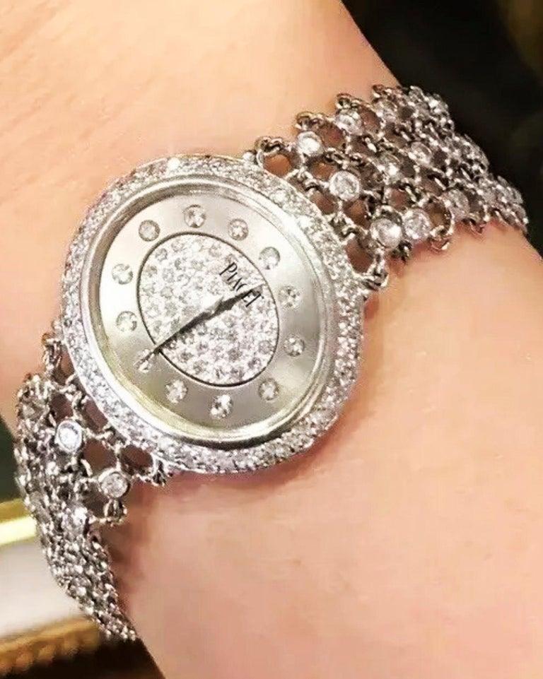 Women's or Men's Piaget Piece Unique 1960s Diamond Set 18 Karat White Gold Bracelet Wristwatch For Sale