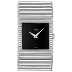 Piaget Polo 18 Karat White Gold Black Dial Men's Watch 9131