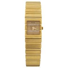 Piaget Polo Quartz Diamond Dial 18 Karat Yellow Gold Women's Watch 458116