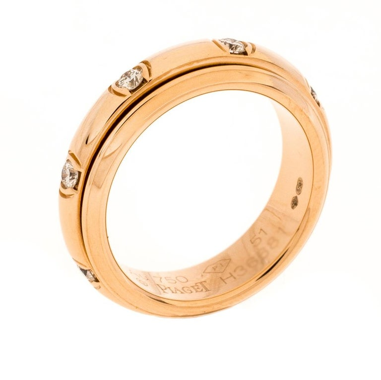 Piaget Possession Diamond 18K Rose Gold Spinning Band Ring Size 51 In Excellent Condition In Dubai, Al Qouz 2