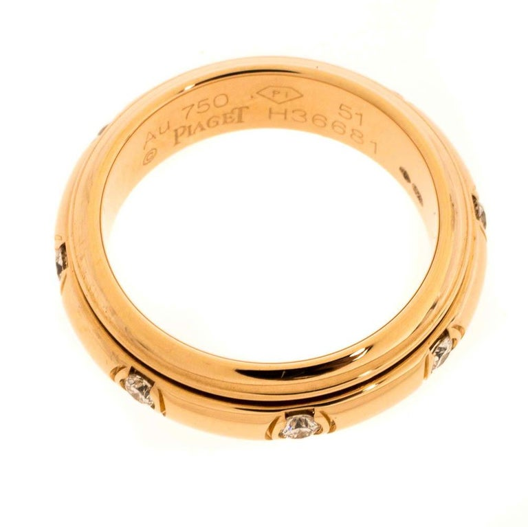 Piaget Possession Diamond 18K Rose Gold Spinning Band Ring Size 51 1