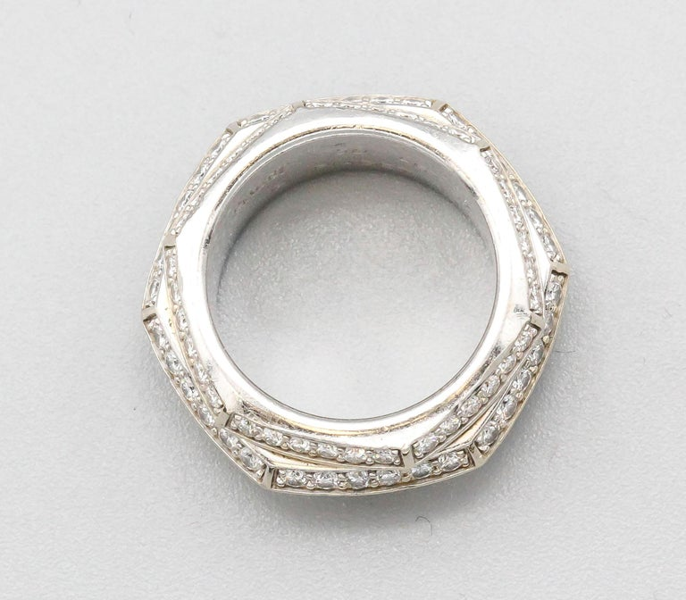 Unusual diamond and 18K white gold 3 row band from the