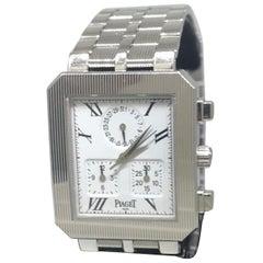 Piaget Protocole 18 Karat White Gold White Dial Chronograph Bracelet Watch New