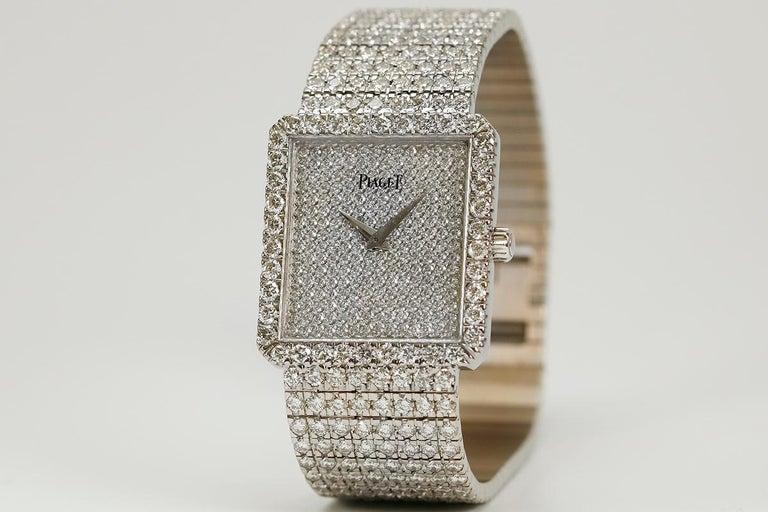 Round Cut Piaget Protocole 18 Karat White Gold and Diamond Ref 9150, circa 1980 For Sale
