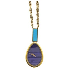 Piaget Rare 1970s Lapis Dial Turquoise Gold Watch Pendant Necklace
