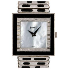 Piaget Rare Gents 18k White Gold White Mother of Pearl Dial Onyx Set 9200 C 426