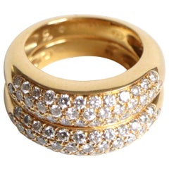 Piaget Ring in 18 Carat Yellow Gold Composed of Two Rings with 36 Diamonds Each