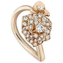 Piaget Rose Flower Ring with Diamonds 18 karat Pink Gold