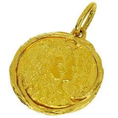 Piaget Salvador Dalí Gold Coin Charm 24 Karat 18 Karat Yellow Gold