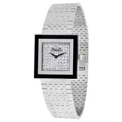 Piaget Square Case and Diamond Dial 18k White Gold Wristwatch
